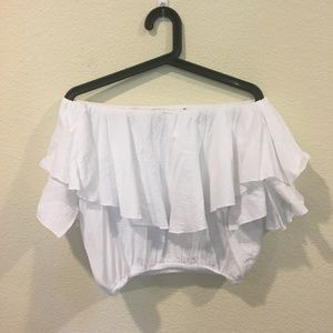 MLM Tops - MLM white ruffle crop top